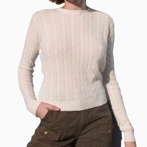 BRANDY MELVILLE | OLSEN CREAM CABLE KNIT SWEATER